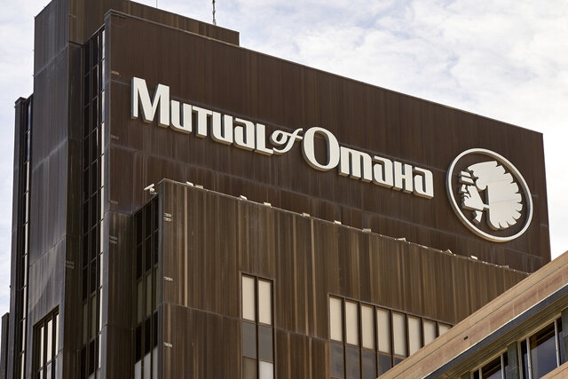 FILE - In this Friday, July 17, 2020 file photo, the Mutual of Omaha logo is seen at the company's corporate headquarters in Omaha, Neb. The insurance company  has announced, Thursday, Nov. 12,  a new logo without the depiction of a Native American chief. (AP Photo/Nati Harnik, File)