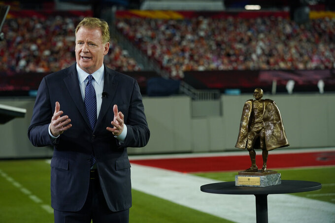 Commissioner Roger Goodell talks about the Walter Payton NFL Man of the Year award during the NFL Honors ceremony as part of Super Bowl 55 Friday, Feb. 5, 2021, in Tampa, Fla. (AP Photo/Charlie Riedel)