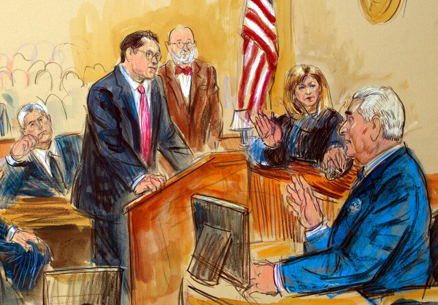 FILE - This Feb. 21, 2019, file courtroom sketch shows former campaign adviser for President Donald Trump, Roger Stone talking from the witness stand as prosecution attorney Jonathan Kravis, standing left, Stone's attorney Bruce Rogow, third from right, and Judge Amy Berman Jackson listen, during a court hearing at the U.S. District Courthouse in Washington. Kravis will run a new public corruption unit at the District of Columbia Office of the Attorney General, which has jurisdiction over juvenile offenses as well as misdemeanor crimes. (Dana Verkouteren via AP, File)
