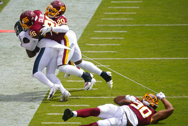 Washington Football Team defensive end Montez Sweat (90) falls while tearing a piece of of Philadelphia Eagles running back Jason Huntley's jersey who is being tackled by Washington Football Team strong safety Landon Collins (26) and cornerback Jimmy Moreland (20) during the first half of an NFL football game, Sunday, Sept. 13, 2020, in Landover, Md. (AP Photo/Al Drago)