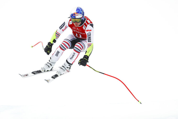 France's Alexis Pinturault competes during an alpine ski, men's World Cup Super-G, in Kitzbuehel, Austria, Monday, Jan. 25, 2021. (AP Photo/Marco Trovati)