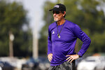 Coach Art Briles watches his team practice at Mount Vernon High School, Monday, Aug. 5, 2019, in Mount Vernon, Texas. Briles was back at his roots Monday, coaching a high school football team in Texas after a season in Italy and more than three years after the two-time Big 12 champion coach was fired by Baylor in the wake of a sexual assault scandal. (AP Photo/Tony Gutierrez)