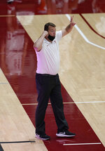Stanford head coach Jerod Haase calls a play from the bench during the second half against Southern California in a NCAA college basketball game in Stanford, Calif., Tuesday, Feb. 2, 2021. Southern California won 72-66.(AP Photo/Tony Avelar)