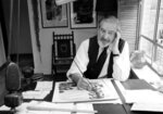 EMBARGOED WEDNESDAY AUG 5, 9AM - FILE - This Oct 26, 1978, file photo shows Charles Addams, cartoonist and collector of pre-historic items, at the drawing board in New York. Addams is among this year's inductees into the New Jersey Hall of Fame.(AP Photo/ Ray Howard, File)