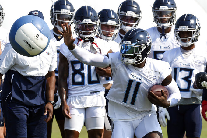 Tennessee Titans wide receiver A.J. Brown (11) runs a drill during NFL football training camp Wednesday, July 28, 2021, in Nashville, Tenn. (AP Photo/Mark Zaleski)