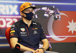 Red Bull driver Max Verstappen of the Netherlands speaks during a media conference ahead of the Formula One Grand Prix at the Baku Formula One city circuit in Baku, Azerbaijan, Thursday, June 3, 2021. The Azerbaijan Formula One Grand Prix will take place on Sunday. (Clive Rose, Pool via AP)