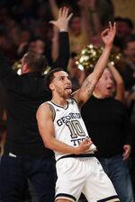 Georgia Tech guard Jose Alvarado (10) reacts after a Tech basket in the second half of an NCAA college basketball game against Duke Wednesday, Jan. 8, 2020, in Atlanta. Duke won 73-64. (AP Photo/John Bazemore)
