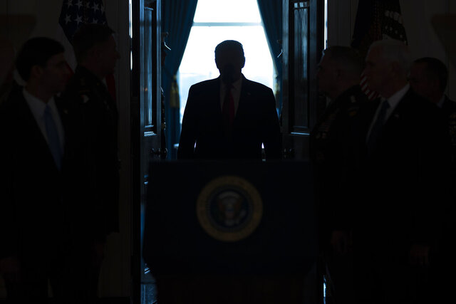 President Donald Trump arrives to address the nation from the White House on the ballistic missile strike that Iran launched against Iraqi air bases housing U.S. troops, Wednesday, Jan. 8, 2020, in Washington. (AP Photo/ Evan Vucci)