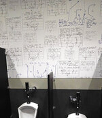 Football plays designed by Steve Spurrier from years past are displayed on wallpaper in a restroom at his new restaurant, the Gridiron Grill, Thursday, June 17, 2021, in Gainesville, Fla. The restaurant doubles as Spurrier's personal museum. (AP Photo/John Raoux)