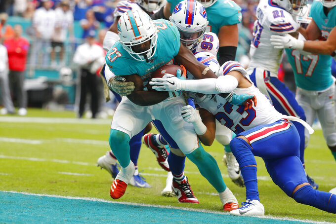 Dolphins' ground game stuffed by Bills in 37-20 loss