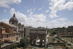 A view of the Roman Forum archaeological area, which is still closed following the measures to curb the spread of COVID-19, in Rome, Tuesday, May 19, 2020. Italy's museums were allowed to open on Monday, but many are waiting till anti-contagion measures can be put into place. (AP Photo/Alessandra Tarantino)