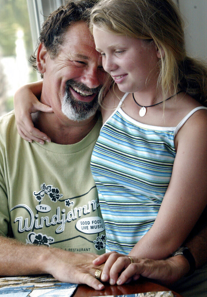 In a June 2003 photo, St. Paul Saints co-owner Mike Veeck poses with daughter Rebecca, 11, at his home in Charleston, S.C. The life of Rebecca Veeck, daughter of St. Paul Saints baseball team owner Mike Veeck, will be celebrated next month in Charleston, S.C. Rebecca  died Sept. 30, 2019, in Charleston, after being diagnosed years ago with Batten disease, a rare genetic condition. She was 27. (Judy Griesedieck/Star Tribune via AP)