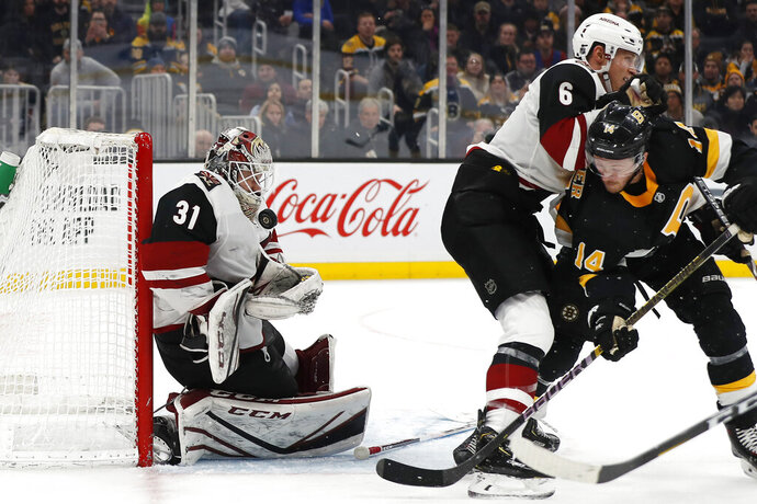 Arizona Coyotes goaltender Adin Hill makes a save with no stick as defenseman Jakob Chychrun holds off Boston Bruins' Chris Wagner during the third period of an NHL hockey game Saturday, Feb. 8, 2020, in Boston. (AP Photo/Winslow Townson)