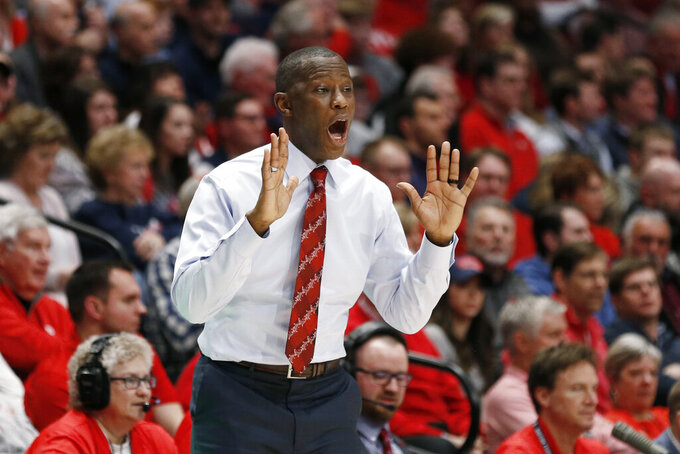 Dayton coach Anthony Grant reacts to a call during the second half of the team's NCAA college basketball game against Davidson, Friday, Feb. 28, 2020, in Dayton, Ohio. Dayton won 82-67. (AP Photo/Gary Landers)