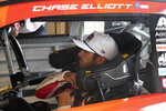 Chase Elliott prepares for practice for Sunday's NASCAR Cup Series auto race at the Circuit of the Americas in Austin, Texas, Saturday, May 22, 2021. (AP Photo/Chuck Burton)