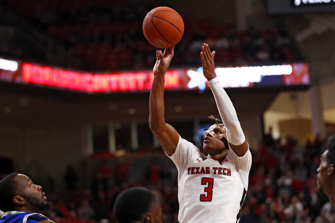 Texas Tech's Jahmi'us Ramsey (3) shoots the ball during the second half of an NCAA college basketball game against Eastern Illinois, Tuesday, Nov. 5, 2019, in Lubbock, Texas. (AP Photo/Brad Tollefson)