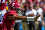 Alabama quarterback Tua Tagovailoa (13) holds for an extra point against Southern Miss during the first half of an NCAA college football game, Saturday, Sept. 21, 2019, in Tuscaloosa, Ala. (AP Photo/Vasha Hunt)
