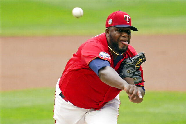 Minnesota Twins pitcher Michael Pineda throws against the Detroit Tigers in the first inning of a baseball game Monday, Sept. 7, 2020, in Minneapolis. (AP Photo/Jim Mone)