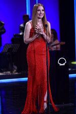 U.S. actress Jessica Chastain after receiving an ex-aequo Donostia Shell award at the 69th San Sebastian Film Festival, in San Sebastian, northern Spain, Saturday, Sept. 25, 2021. (AP Photo/Alvaro Barrientos)