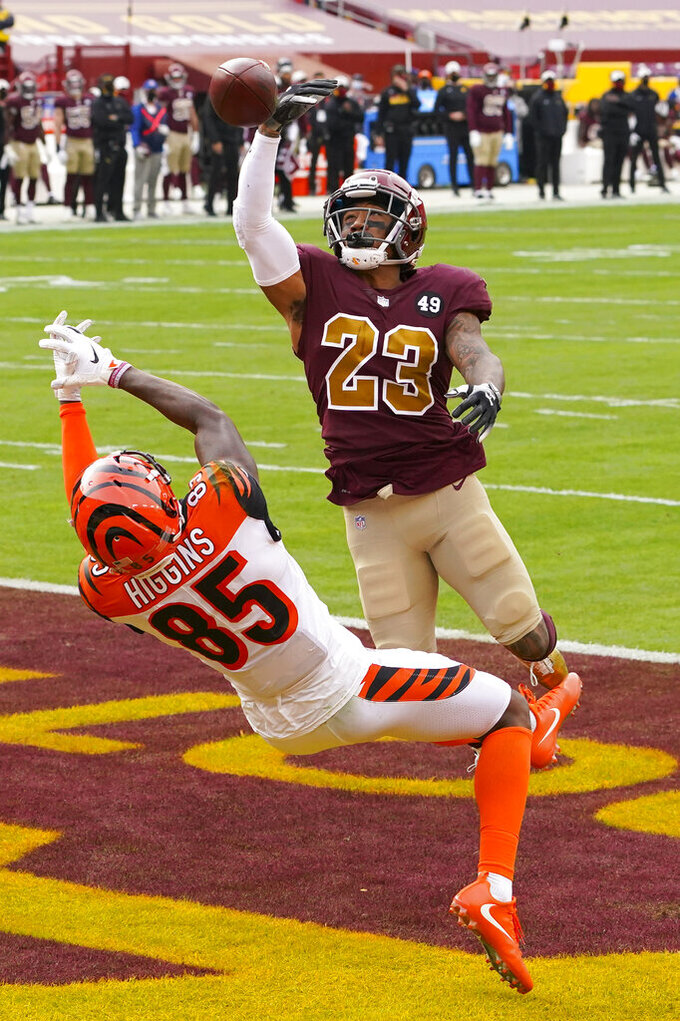 Washington Football Team cornerback Ronald Darby (23) breaks up a pass to Cincinnati Bengals wide receiver Tee Higgins (85) during the first half of an NFL football game between the Cincinnati Bengals and Washington Football Team, Sunday, Nov. 22, 2020, in Landover. (AP Photo/Andrew Harnik)
