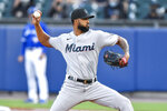 Miami Marlins starting pitcher Sandy Alcantara throws to a Toronto Blue Jays batter during the second inning of a baseball game in Buffalo, N.Y., Tuesday, June 1, 2021. (AP Photo/Adrian Kraus)