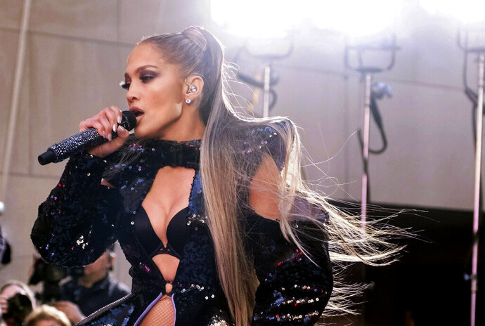 FILE - In this May 6, 2019 file photo, Jennifer Lopez performs on NBC's