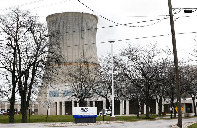 FILE - Davis-Besse Nuclear Power Station shown in a Tuesday, April 4, 2017 file photo, in Oak Harbor, Ohio. A roughly $1 billion financial rescue for Ohio's two nuclear power plants is all but certain after lawmakers on Tuesday, July 23, 2019 approved adding a new fee to every electricity bill in the state. (AP Photo/Ron Schwane, File)