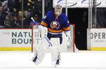 New York Islanders goaltender Semyon Varlamov (40) leaves the ice after an NHL hockey game against the Boston Bruins, Saturday, Jan. 11, 2020, in New York. (AP Photo/Frank Franklin II)