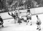 FILE - In this May 10, 1970, file photo, Boston Bruins' Bobby Orr flies through the air after scoring the winning goal past St. Louis Blues' goalie Glenn Hall during overtime in the NHL hockey Stanley Cup finals in Boston. A 49-year wait is over for St. Louis Blues fans. The team is in the Stanley Cup Finals for the first time since 1970, and facing the same opponent, the Boston Bruins.  (AP Photo/A.E. Maloof, File)