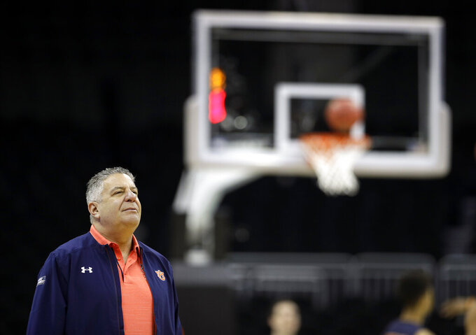 Auburn head coach Bruce Pearl watches his team during practice at the NCAA men's college basketball tournament Thursday, March 28, 2019, in Kansas City, Mo. Auburn plays North Carolina in a Midwest Regional semifinal on Friday. (AP Photo/Charlie Riedel)