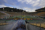 California players exit their tunnel at California Memorial Stadium before an NCAA college football game against Oregon in Berkeley, Calif., Saturday, Dec. 5, 2020. (AP Photo/Jeff Chiu)