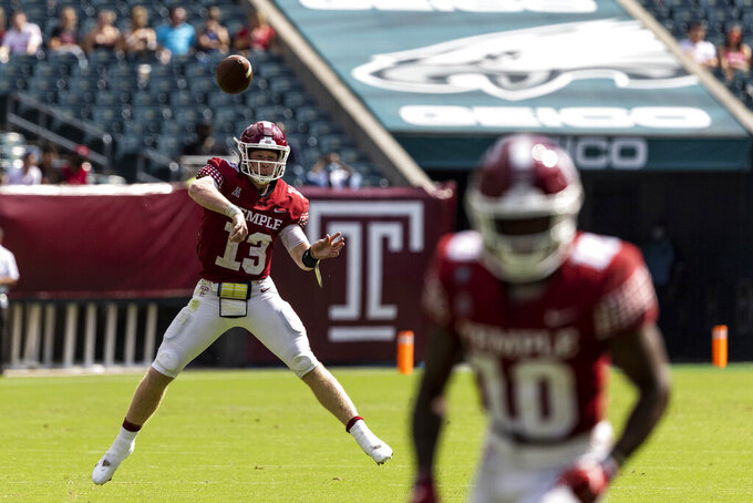 Temple quarterback Justin Lynch throws a pass against Boston College during the second half of an NCAA college football game on Saturday, Sept. 18, 2021, in Philadelphia. (Tyger Williams/The Philadelphia Inquirer via AP)