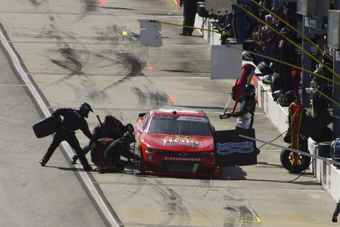Colby Howard pits during a NASCAR Xfinity Series auto race Saturday, Sept. 4, 2021, in Darlington, S.C. (AP Photo/John Amis)