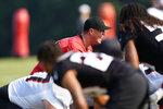 Atlanta Falcons quarterback Matt Ryan (2) runs a drill during their NFL training camp football practice Saturday, July 31, 2021, in Flowery Branch, Ga. (AP Photo/John Bazemore)