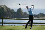 Nick Taylor, of Canada, follows his drive from the 18th green of the Pebble Beach Golf Links during the second round of the AT&T Pebble Beach National Pro-Am golf tournament Friday, Feb. 7, 2020, in Pebble Beach, Calif. (AP Photo/Eric Risberg)