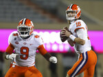 Clemson quarterbackTrevor Lawrence looks to throw against Virginia Tech in the first quarter of an NCAA college football game against Virginia Tech in Blacksburg, Va., Saturday, Dec. 5, 2020. (Matt Gentry/The Roanoke Times via AP, Pool)