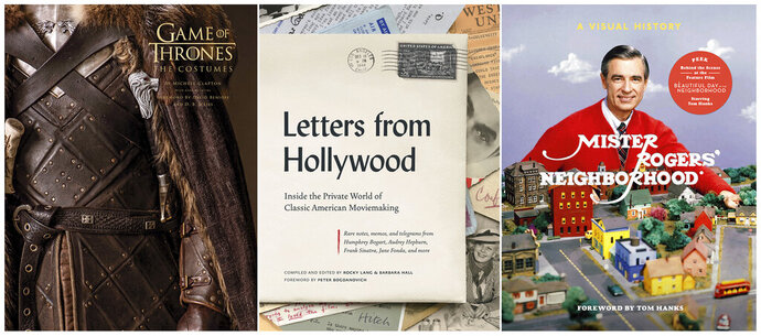 """This combination of cover images shows, from left, """"Game of Thrones: The Costumes,"""" with costumes by Michele Clapton and written by Gina McIntyre, """"Letters from Hollywood: Inside the Private World of Classic American Moviemaking,"""" compiled and edited by Rocky Lang and Barbara Hall, and """"Mister Rogers' Neighborhood: A Visual History,"""" by Fred Rogers Productions, Tim Lybarger, Melissa Wagner and Jenna McGuigan. (Insight Editions/Abrams/Clarkson Potter via AP)"""