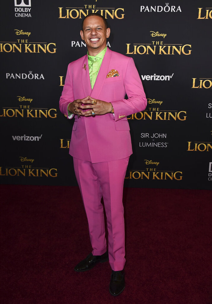 """FILE - Eric Andre arrives at the world premiere of """"The Lion King"""" in Los Angeles on July 9, 2019. Andre told his 700,000-plus Twitter followers, Wednesday, April 21, 2021, that he believed he had been racially profiled when officers pulled him aside in a terminal at Hartsfield-Jackson Atlanta International Airport and asked to search him for drugs. He says he was the only person of color in line to board at the time. The Clayton County Police Department denies any wrongdoing. (Photo by Jordan Strauss/Invision/AP, File)"""