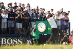 Northern Ireland's Rory McIlroy plays his tee shot off the 3rd during the first round British Open Golf Championship at Royal St George's golf course Sandwich, England, Thursday, July 15, 2021. (AP Photo/Peter Morrison)