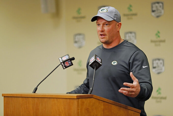 Green Bay Packers' offensive coordinator Nathaniel Hackett addresses the media during a press conference Monday, Feb. 18, 2019, in Green Bay, Wis. (AP Photo/Matt Ludtke)