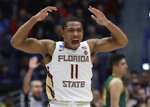 Florida State's David Nichols (11) celebrates during the second half of a first round men's college basketball game in the NCAA Tournament, Thursday, March 21, 2019, in Hartford, Conn. (AP Photo/Elise Amendola)