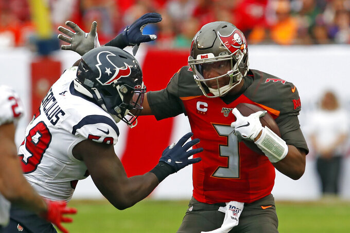 Houston Texans outside linebacker Whitney Mercilus (59) sacks Tampa Bay Buccaneers quarterback Jameis Winston (3) during the second half of an NFL football game Saturday, Dec. 21, 2019, in Tampa, Fla. (AP Photo/Mark LoMoglio)
