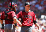Arizona Diamondbacks catcher Alex Avila, left, talks with starting pitcher Zack Greinke, right, during the third inning of a baseball game against the St. Louis Cardinals Sunday, July 14, 2019, in St. Louis. (AP Photo/Jeff Roberson)