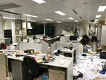 Damage to the offices of the Legislative Council following a break-in by protesters is seen during a media tour, Wednesday, July 3, 2019, in Hong Kong. (AP Photo/Johnson Lai)