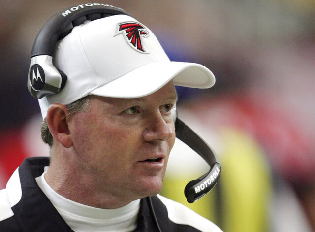FILE - Atlanta Falcons coach Bobby Petrino looks on during an NFL football game against the Houston Texans in Atlanta, in this Sept. 30, 2007, file photo. Back in 2007, Petrino lasted all of 13 games with the Atlanta Falcons, winning just three times before he slinked back to college in the middle of the night, leaving behind nothing more than a form letter for his abandoned players. (AP Photo/John Amis, File)