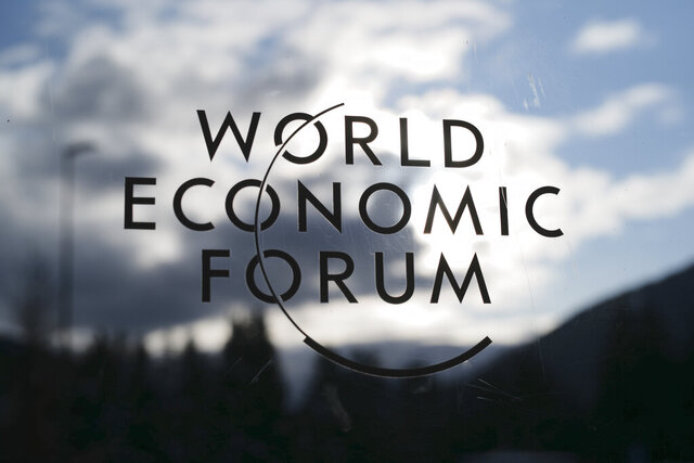 The logo of the World Economy Forum is displayed on a door at the Congress Centre in Davos, Switzerland, Sunday, Jan. 19, 2020. The 50th annual meeting of the World Economic Forum will take place in Davos from Jan. 20 until Jan. 24, 2020. (Photo/Markus Schreiber)