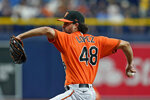 Baltimore Orioles pitcher Jorge Lopez delivers to the Tampa Bay Rays during the first inning of a baseball game Saturday, June 12, 2021, in St. Petersburg, Fla. (AP Photo/Chris O'Meara)
