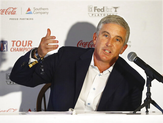 PGA Tour commissioner Jay Monahan holds a live press conference with the media during the season-ending Tour Championship at East Lake Golf Club on Wednesday, Sept. 2, 2020, in Atlanta. (Curtis Compton/Atlanta Journal-Constitution via AP)