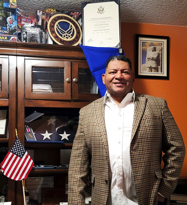 Harold Pope Jr. poses for a selfie in his Albuquerque, N.M., home Thursday, Nov. 5, 2020. A retired Air Force officer from Albuquerque will become the first Black state senator in New Mexico's 108-year history. In his first attempt at elected office, Democrat and Capt. Harold Pope Jr. (Ret) unseated Republican Senator Sander Rue, who is white, and held the suburban district since 2009. (Harold Pope Jr. via AP)