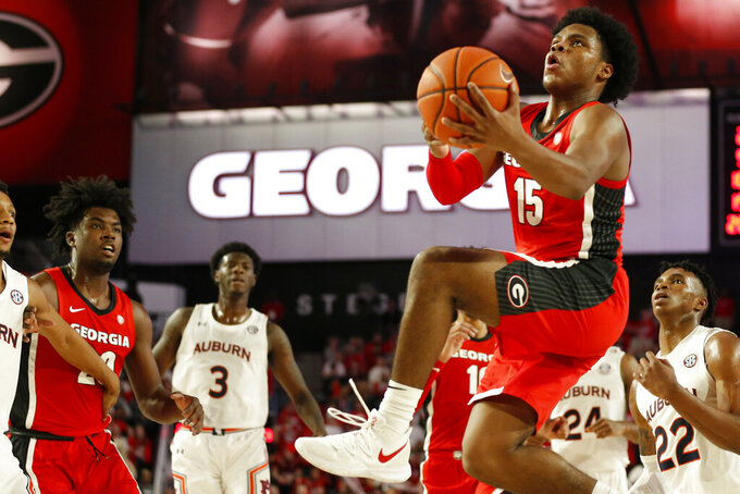Georgia's Sahvir Wheeler (15) shoots against Auburn during the first half of an NCAA college basketball game Wednesday, Feb. 19, 2020, in Athens, Ga. (Joshua L. Jones/Athens Banner-Herald via AP)